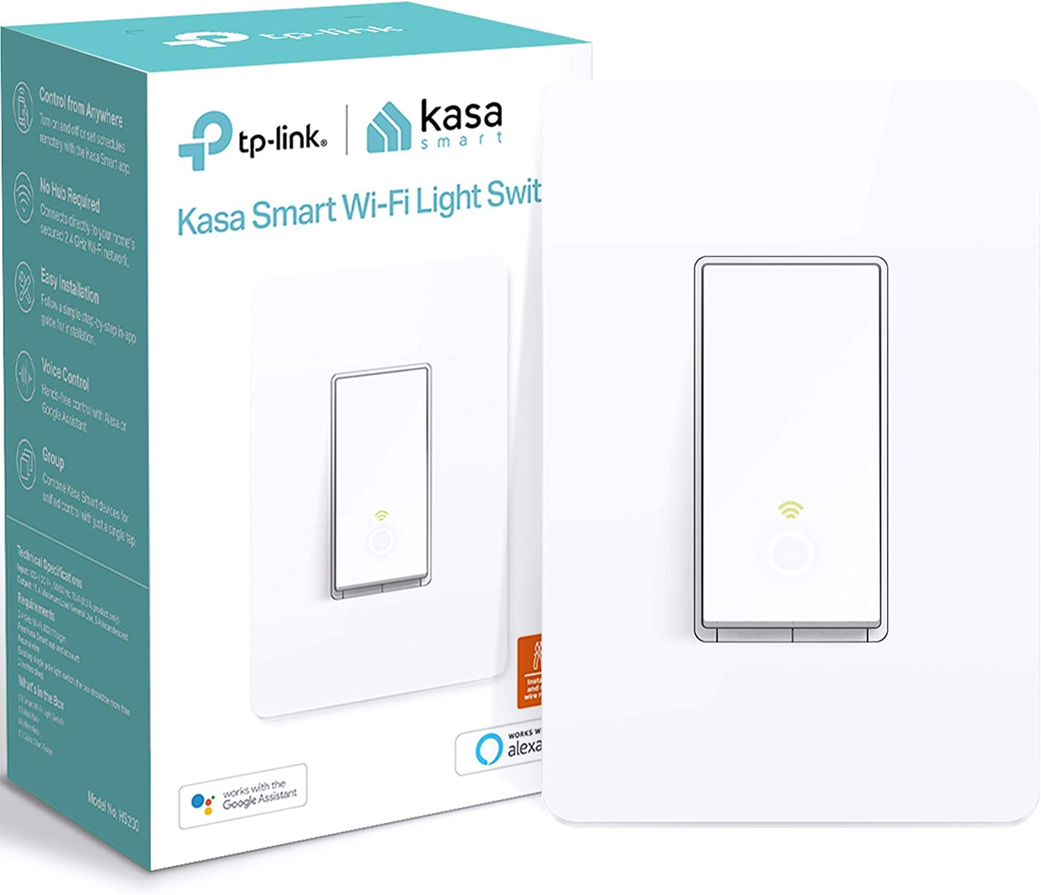 Kasa Smart Light Switch by TP-Link, Single Pole, Needs Neutral Wire, 2.4Ghz WiFi Light Switch Works with Alexa and Google Assistant, UL Certified, 1-Pack (HS200), White - -