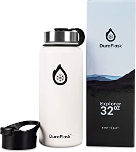 DuraFlask Explorer Double-Wall Vacuum Insulated Water Bottle (32oz) w/ 3 Thermal Optimizing Layers - Copper Dipped & 18/8 Stainless Steel Water Bottle – Marshmallow White