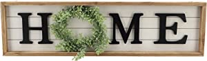 Paris Loft Wooden Framed Home Plaque with Green Wreath for The O|Housewarming Home Decor,Large Farmhouse Home Signs Plaque Wall Hanging Decor for Mantle Living Room. 31.5x1.25x8.75''