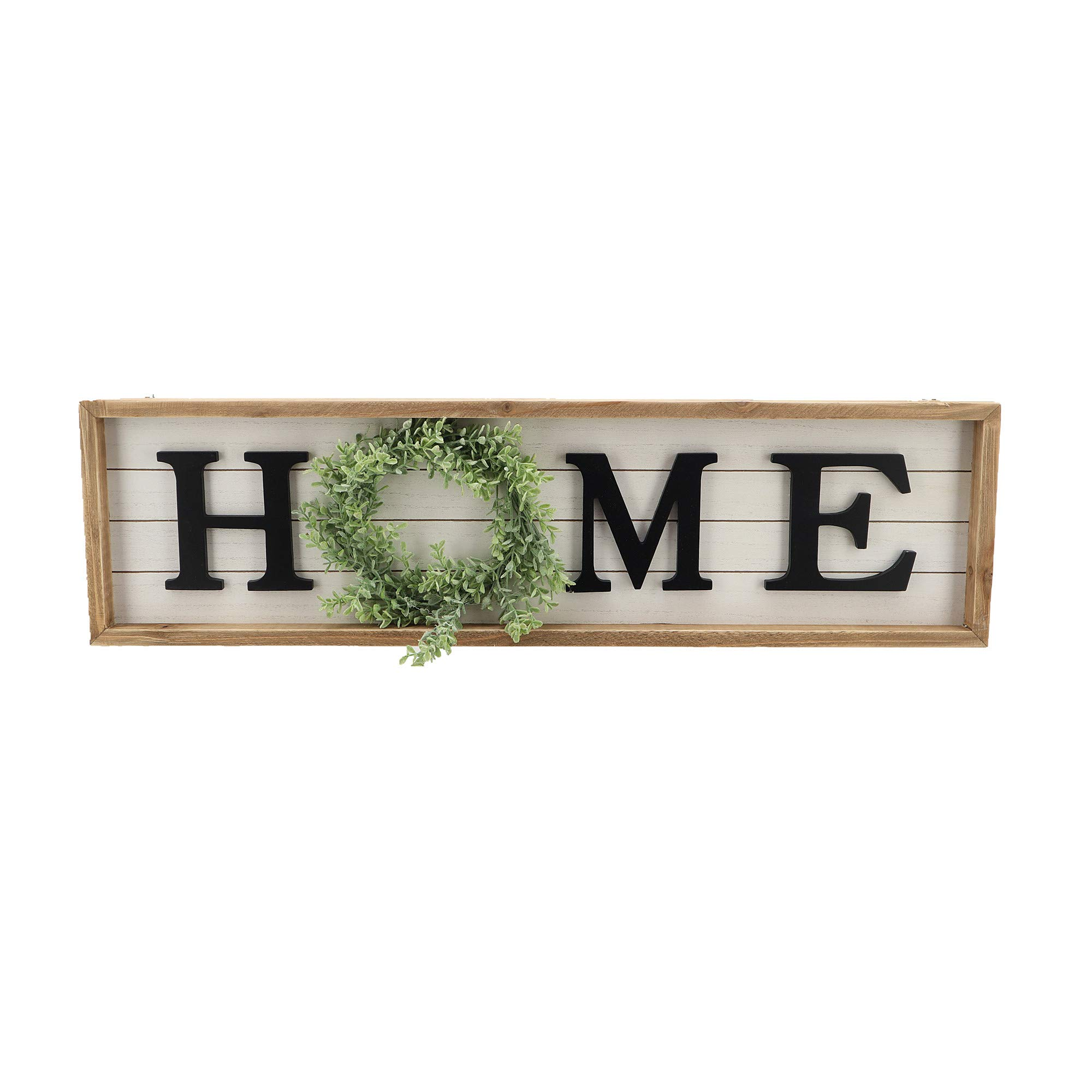 Paris Loft Wooden Framed Home Plaque with Green Wreath for The O Housewarming Home Decor,Large Farmhouse Home Signs Plaque Wall Hanging Decor for Mantle Living Room. 31.5x1.25x8.75'' by Parisloft