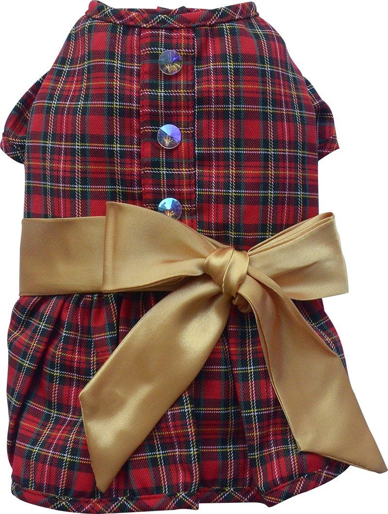 Doggy Dolly ST009cane vestito Tartan elfo di Natale, Rosso
