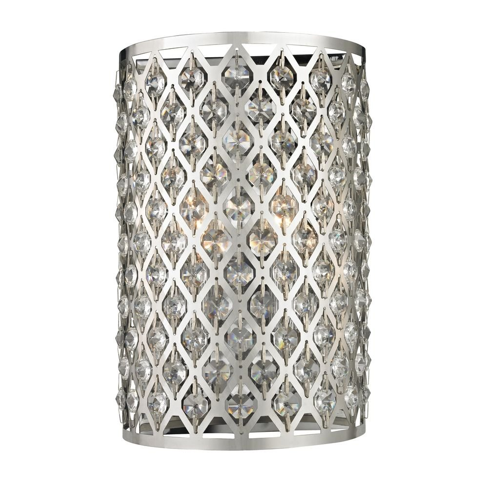 Modern crystal wall sconce with two lights amazon amipublicfo Gallery