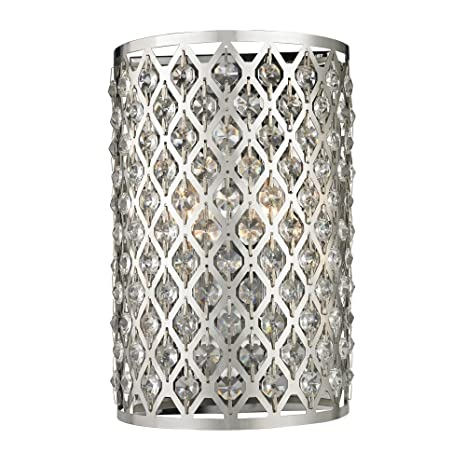 Modern crystal wall sconce with two lights amazon modern crystal wall sconce with two lights aloadofball Gallery