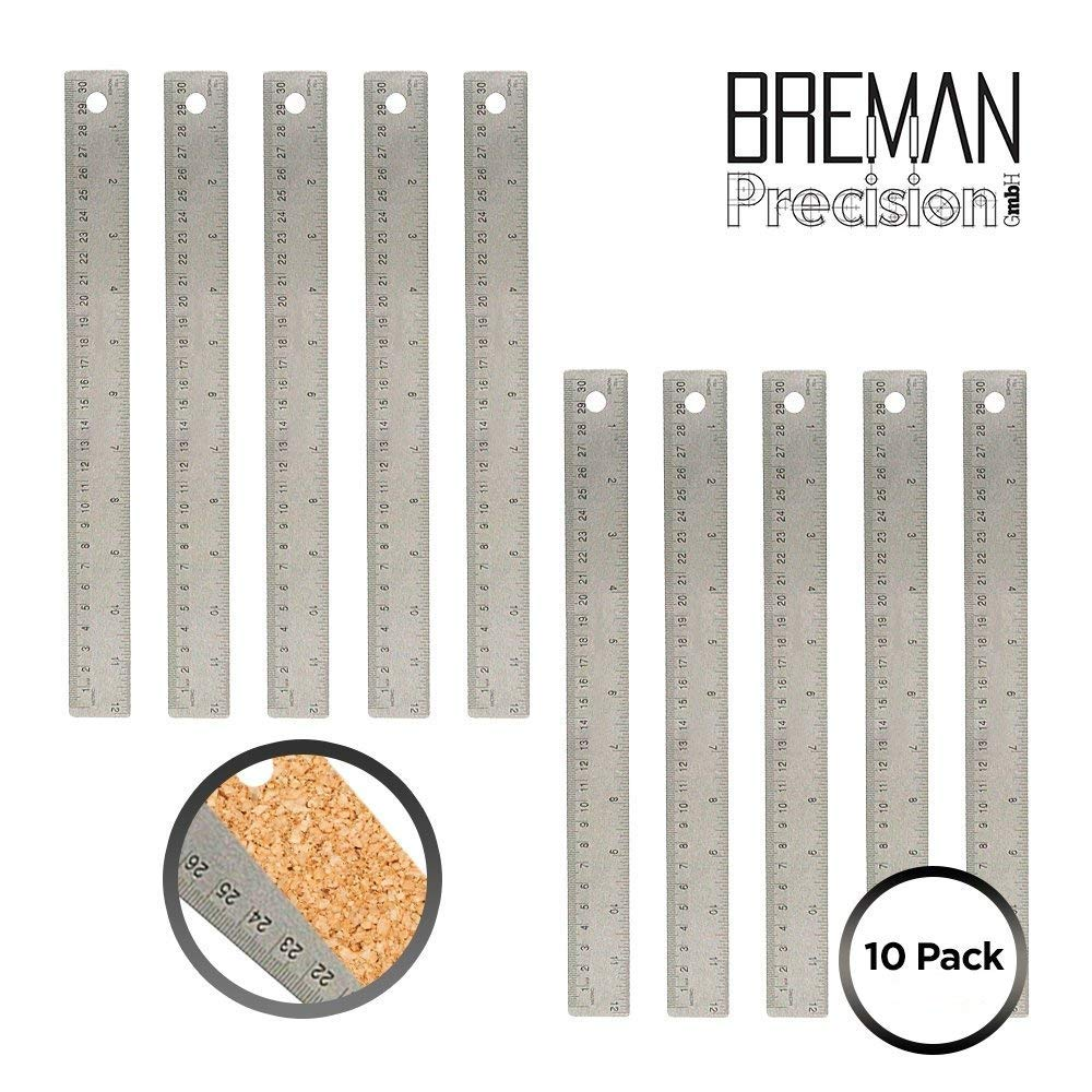 18 Inch Non Slip Steel Ruler Pack of 10-18 Inch High Grade Flexible Stainless Steel Ruler 10 Pack Set with Non Slip Cork Base for Excellent Precision and Accuracy (10 Pack)