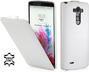 StilGut UltraSlim Case, custodia in vera pelle per LG G3, bianco