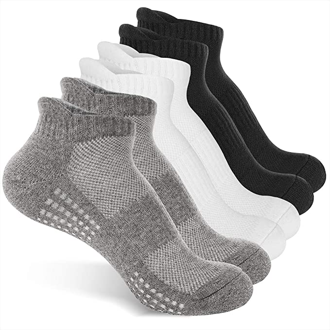 6 Pairs Running Socks Cushioned Sports Socks Ankle Socks Trainer Socks for Men Women Ladies Cotton,Great for Outdoor Sports Hiking Trekking Walking