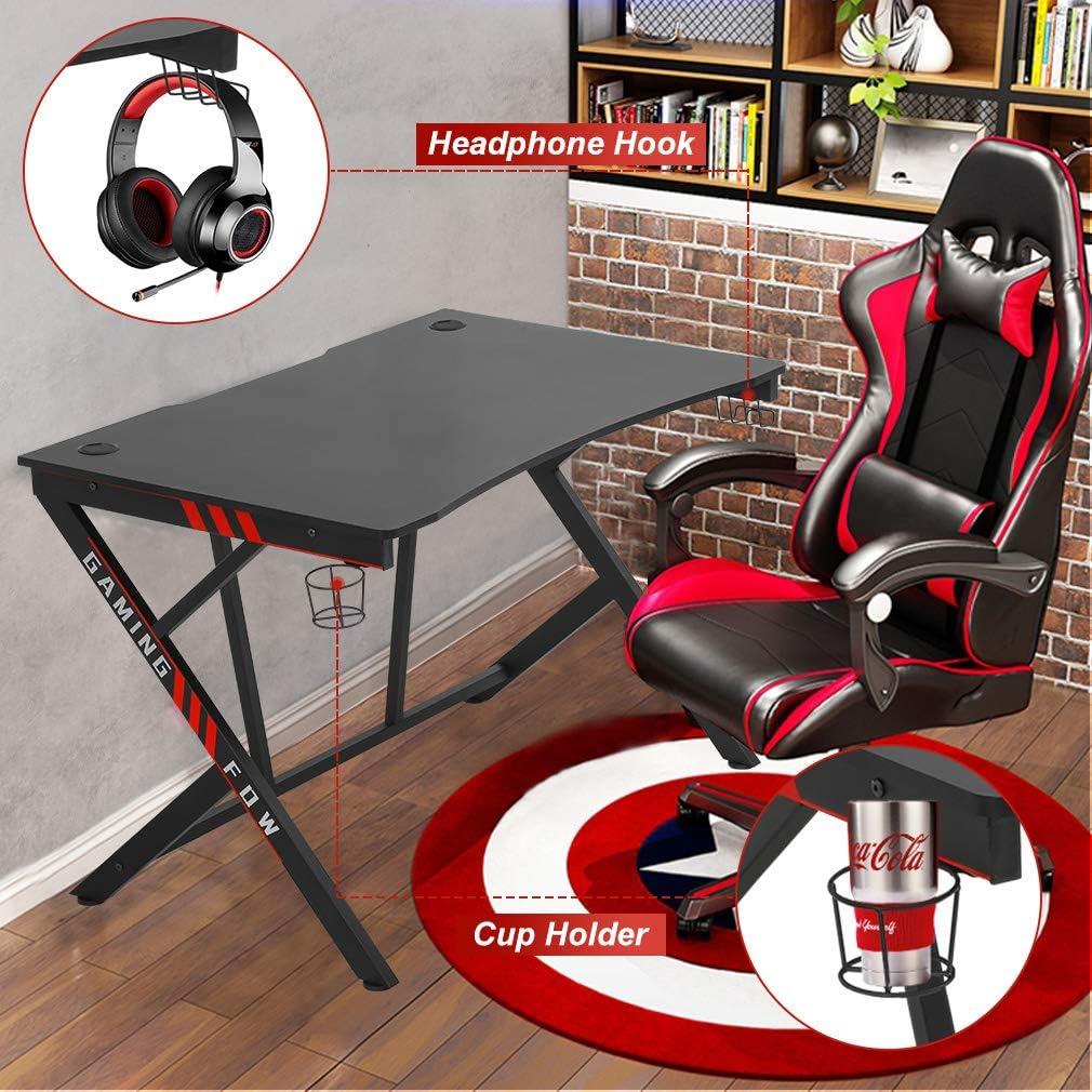 Gaming Desk Computer Desk Home Office Desk Racing Style Study DeskExtra Large Modern Ergonomic PC Carbon Fiber Writing Desk Table with Cup Holder Headphone Hook: Furniture & Decor