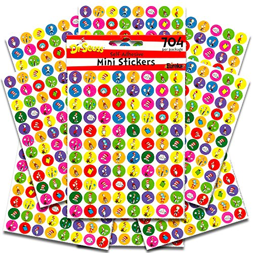 Dr. Seuss Stickers Party Favors Pack -- 8 Cat in The Hat Sticker Sheets (704 Stickers Total, Seuss Party Supplies)