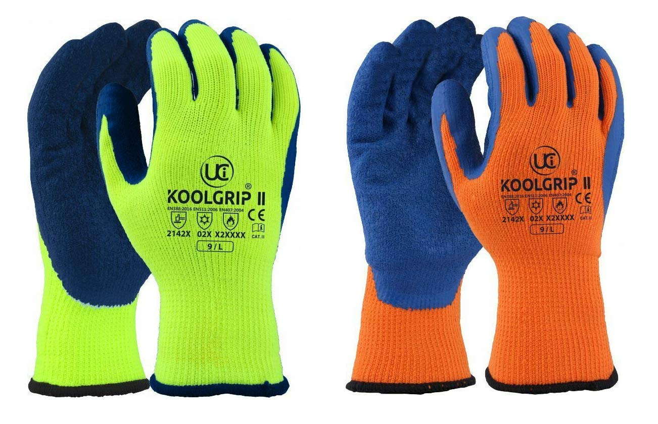 GREEN Portwest A140 Thermal Latex Palm Coated Grip Glove