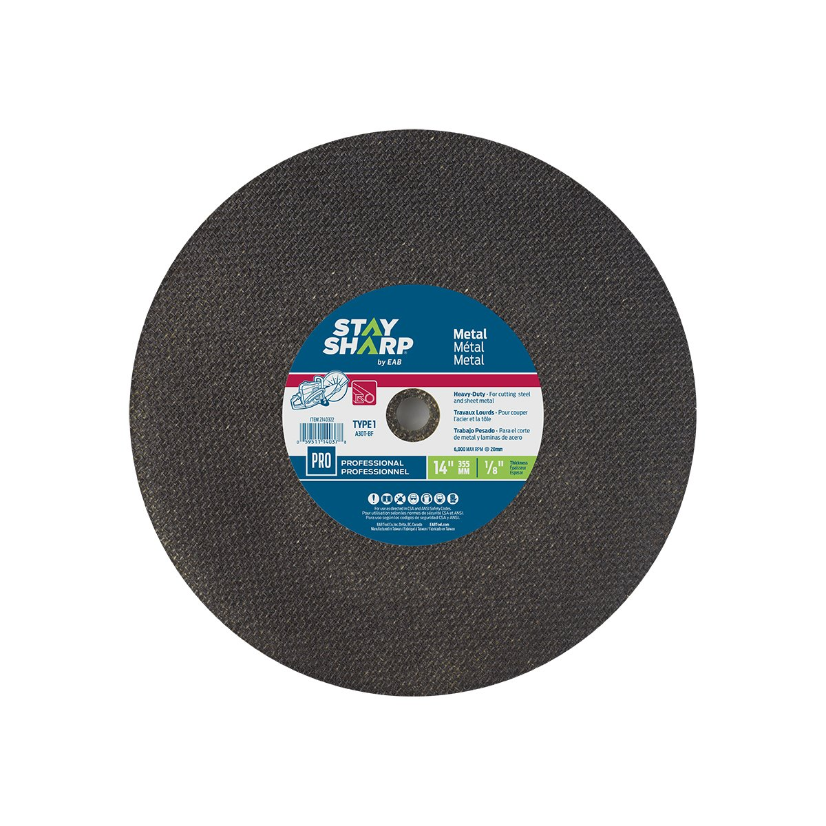 EAB Tool Company USA Inc Type 1 Professional Abrasive EAB Tool 2140322 14 x 1//8 Standard Metal Flat Wheel