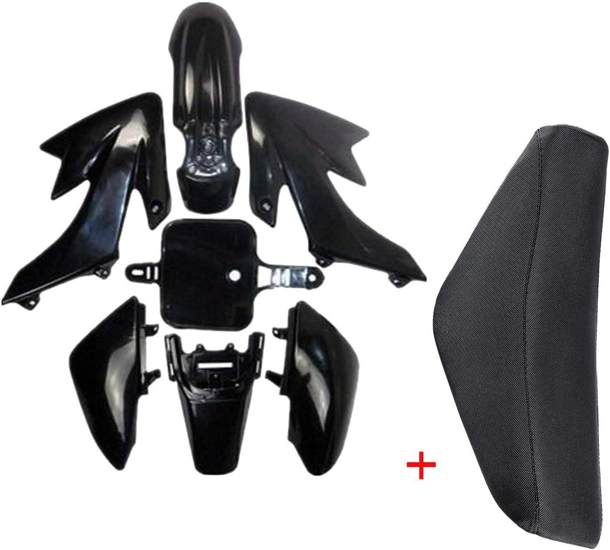 Black /& White Fender Kit Decal Sticker Foam Seat For Motorcross CRF50 Honda