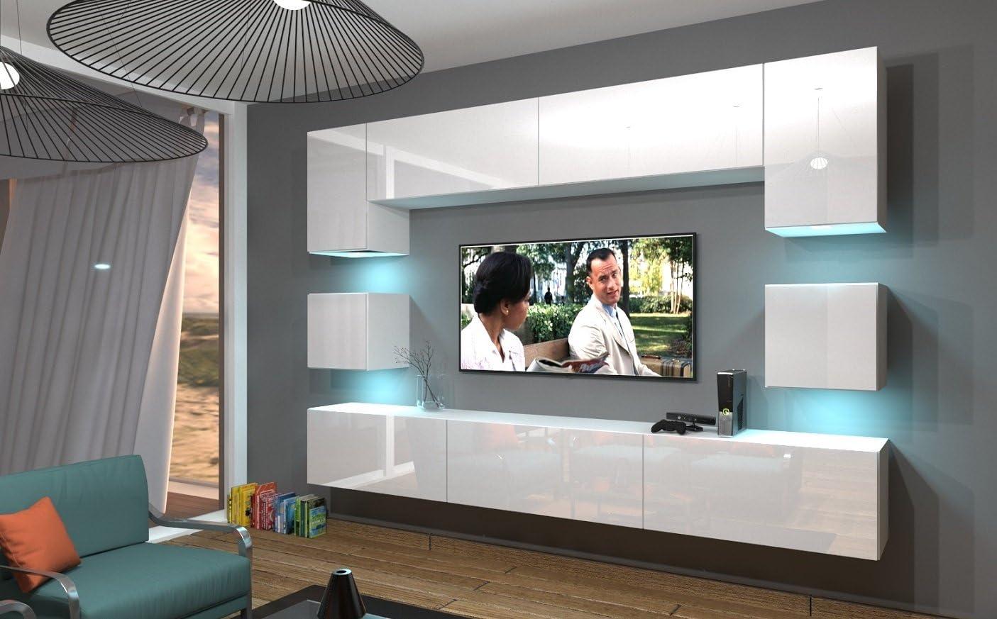 Home Direct NOWARA N15, Modernes Wohnzimmer, Wohnwände, Wohnschränke,  Schrankwand (Weiß MAT Base/Weiß HG Front, LED RGB 156 Farben)