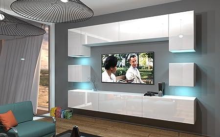HomeDirectLTD Moderno Conjunto de Muebles modulares Nowara N1 Blanco Brillante (AN1-17W-HG21, RGB Remoto)