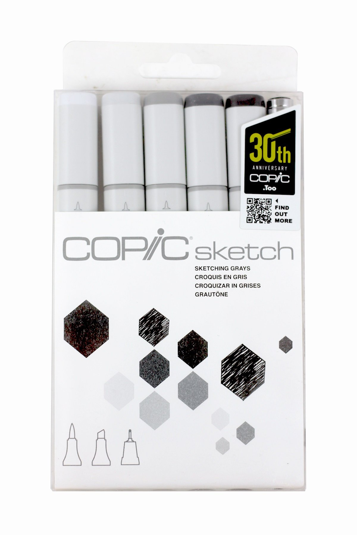 Copic Sketch Markers 5/Pkg W/Multiliner Pen, Sketching Grays