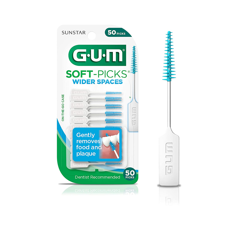 GUM - 10070942002360 Soft-Picks Wider Spaces Dental Picks, 50 Count (Pack of 6)