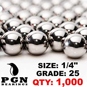 "PGN - 1/4"" Inch (0.25"") Precision Chrome Steel Bearing Balls G25 (1000 PCS)"