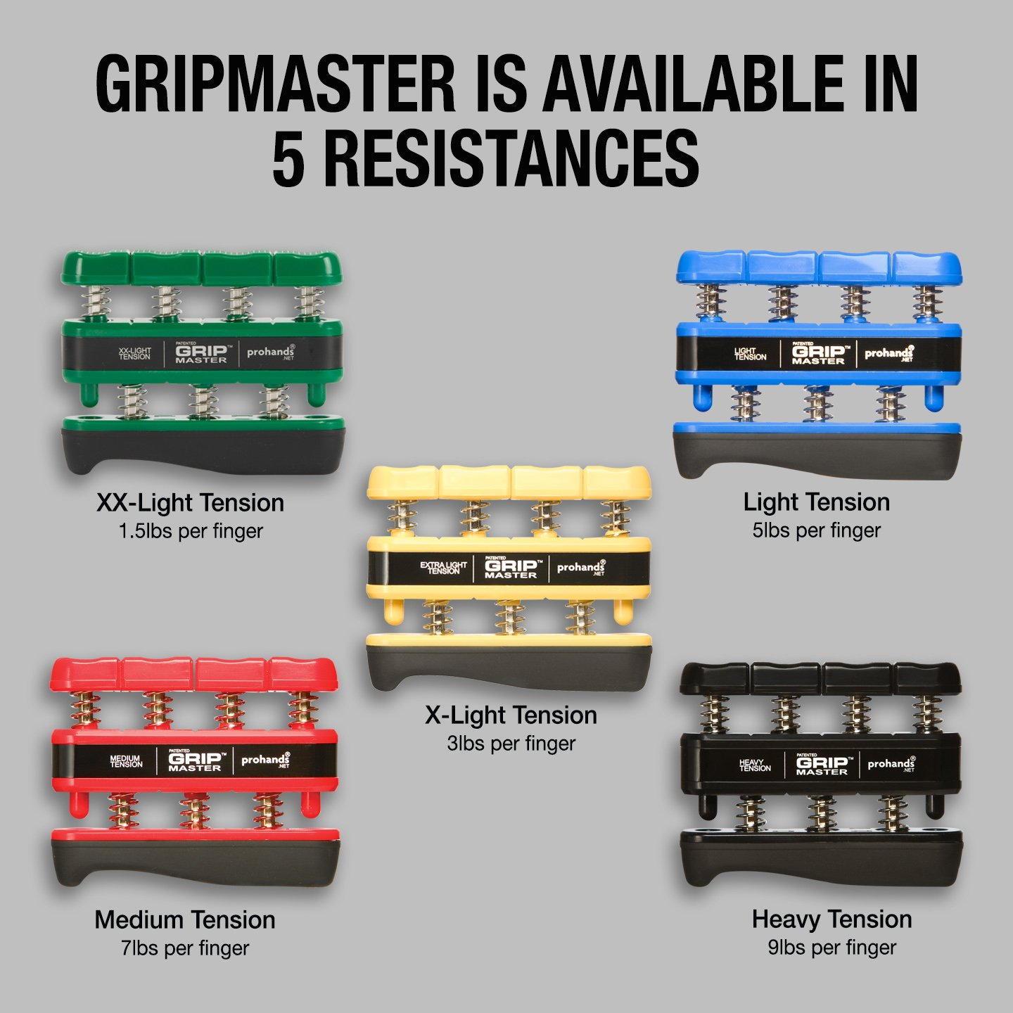 GRIP MASTER Gripmaster Hand Exerciser Green, XX-Light Tension (1.5-Pounds per Finger) by GRIP MASTER (Image #4)