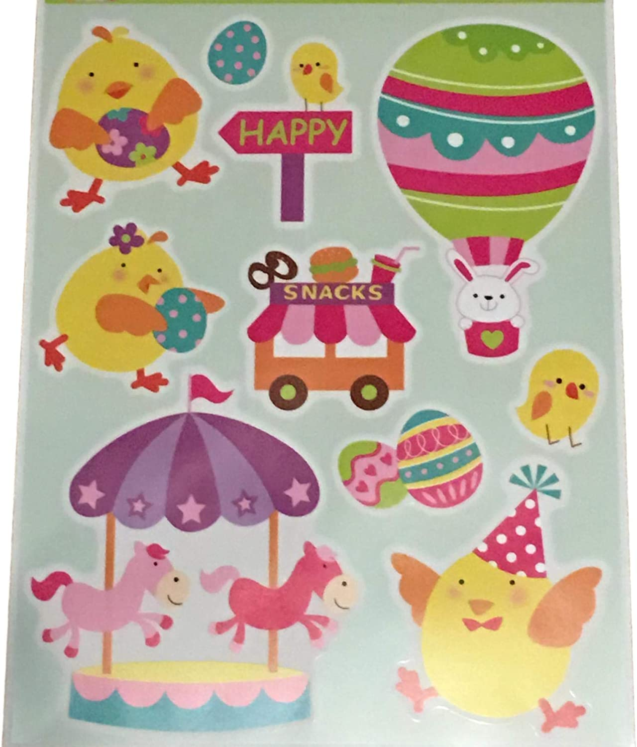 12 Inch Easter Wall Spring Decoration Pink Blue Purple Eggs Gel Cling Nursery