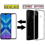 Newlike Huawei Honor 8X Back Transparent Cover + 5D Full Edge Tempered Glass Combo Pack