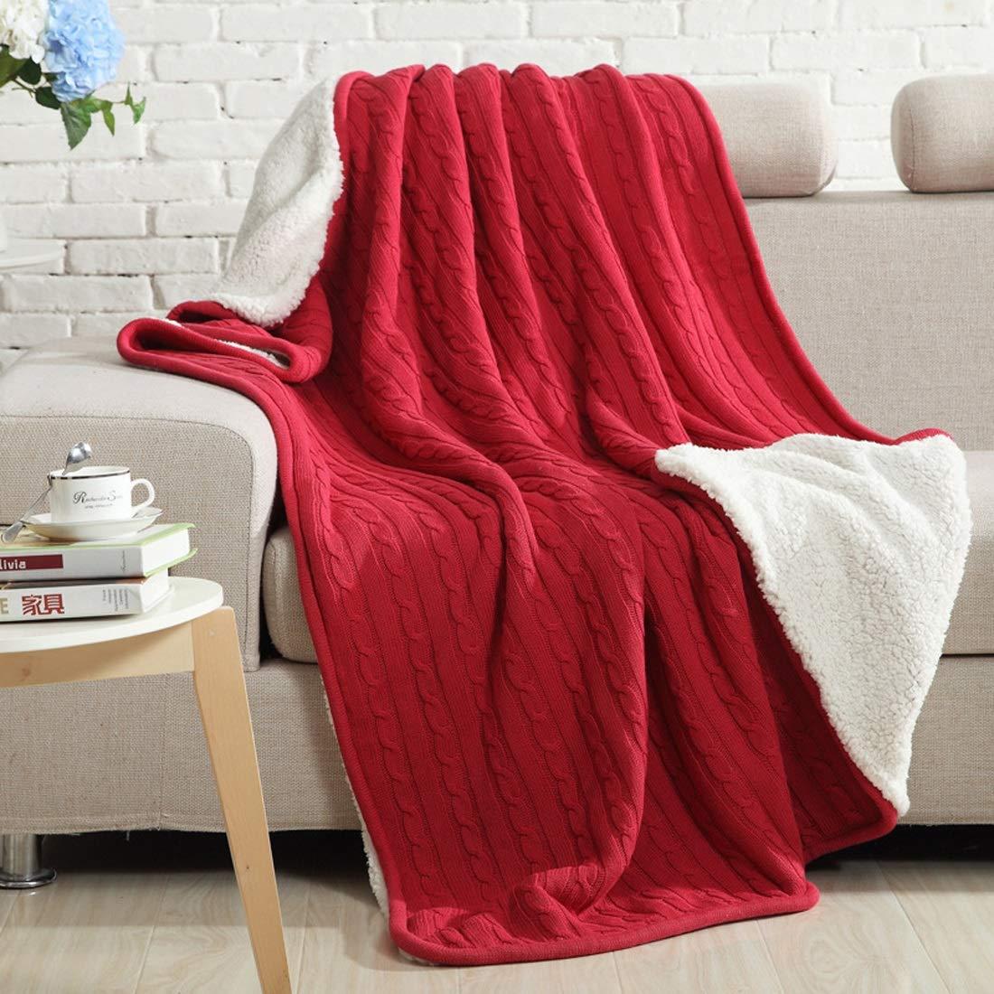 毛布アメリカンビレッジコットンニット厚いキルト写真の小道具ホームオフィスコーヒーショップに適して (Color : レッド) B07MM9DVX6 レッド