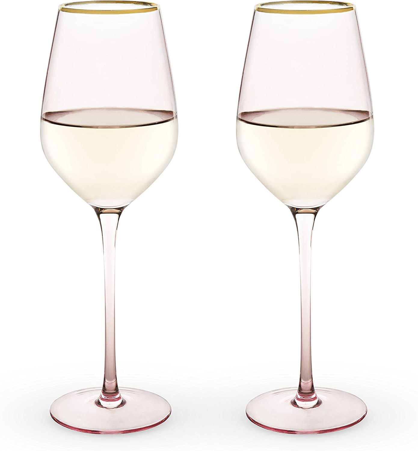 True Fabrication 6163 Garden Party Rose Crystal White Wine Glass Set by Twine, Multicolor