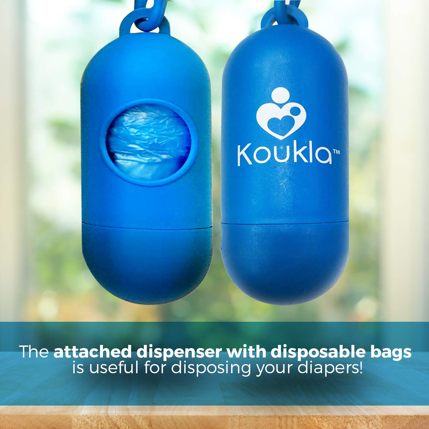 Portable Diaper Changing Pad Clutch Baby Changing Station with Disposable Dirty Diaper Bags and Dispenser Extra Head Cushion Great for Travel Lightweight Pockets for Diapers Wipes Cream Easy to Clean by Koukla (Image #6)