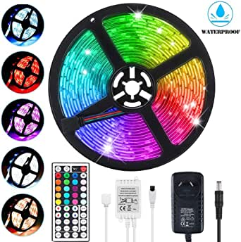 LED Light Strip 5m, Renovo LED Strip 16.4ft 150LEDs 5050SMD Waterproof RGB LED Strip Lights with Remote Control and Power Supply for Bedroom, Kitchen, Cabinet