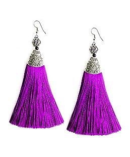 Me&Hz Fuchsia Long Tassel Dangle Earrings Ethnic Purple Red Thread Tassels Drop Earrings for Women Girls