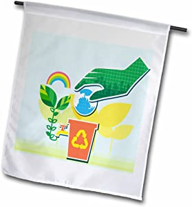3dRose Green Peace Art with Earth, Green, Rainbow & Recycle Symbol - Garden Flag, 12 by 18