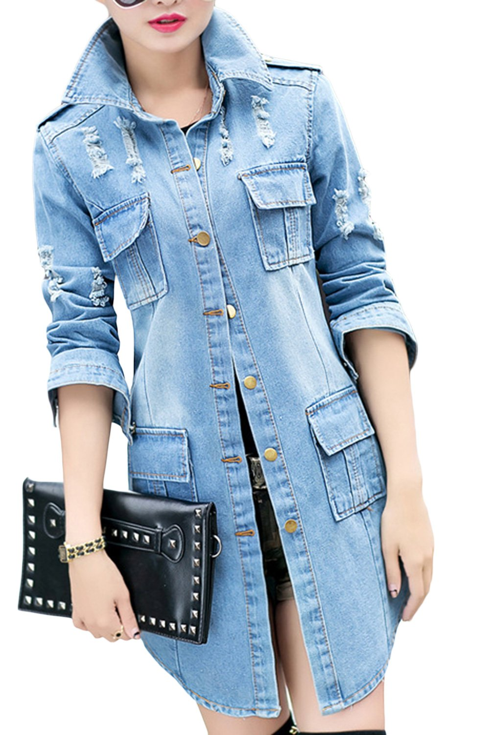sandbank Women's Stylish Slim Fit Long Sleeve Ripped Jean Denim Jacket Coat Light Blue US 8