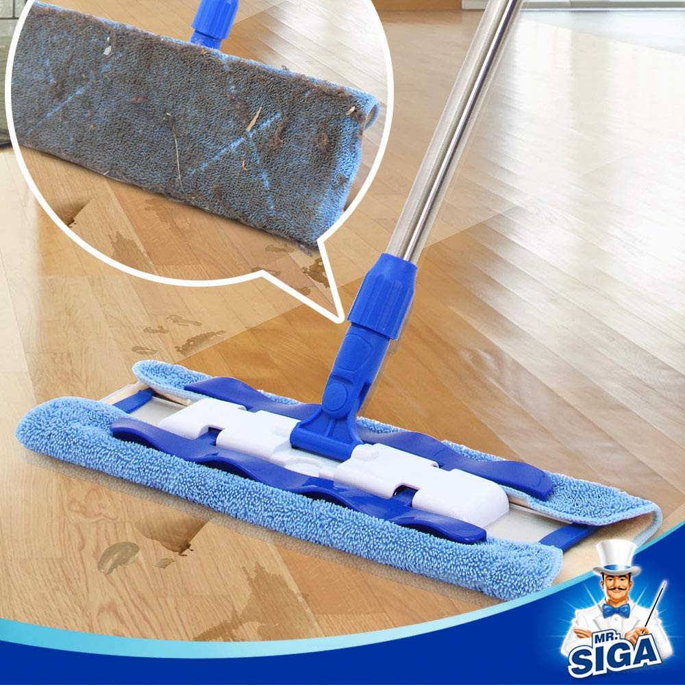 MR. SIGA Professional Microfiber Mop,Stainless Steel Handle - Pad Size: 42cm x23cm, 2 Free Microfiber Cloth Refills and 1 Dirt Removal Scrubber Included by MR.SIGA (Image #5)