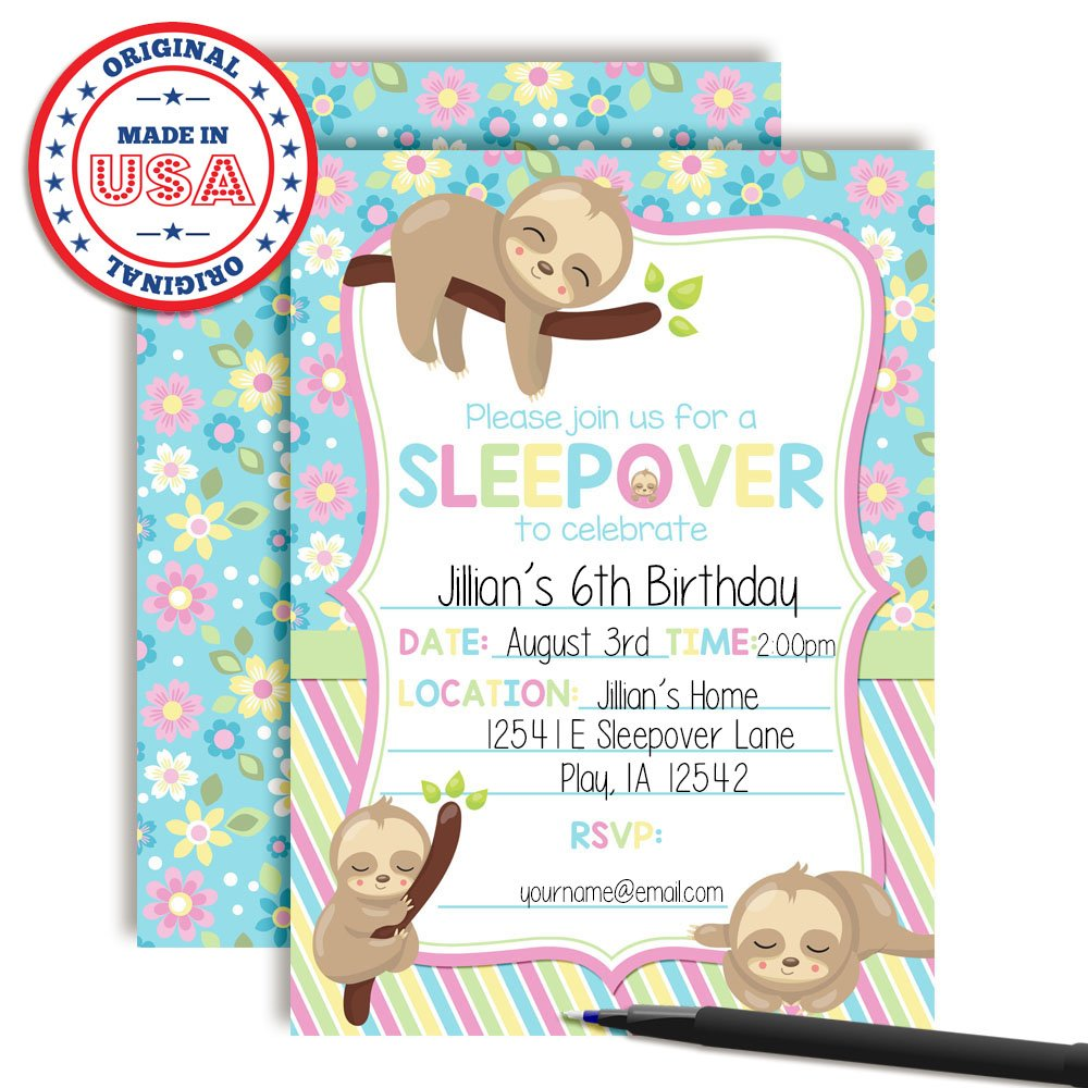 Amazon Cozy Sloth Slumber Sleepover Birthday Party Invitations Girl 20 5x7 Fill In Cards With Twenty White Envelopes By AmandaCreation Kitchen
