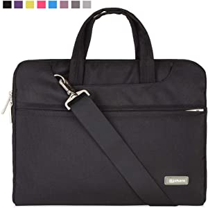 "Qishare 10 11"" 11.6"" 11.6-inch 12 Inch Black Multi-Functional Business Briefcase/Messenger Case with Handle and Carrying Strap for MacBook Air 11'', Hp Stream 11(Black, 11.6-12'')"