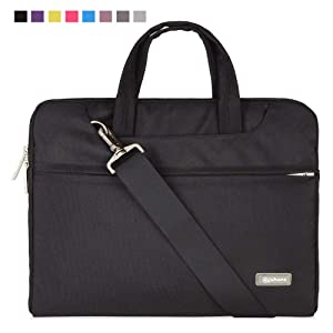 Qishare 15 15.6 16inch Black Multi-Functional Business Laptop Sleeve/Carrying Handbag Briefcase/Laptop Messenger Bag for All 15 15.6 Inch Acer Asus Dell Lenovo Hp Samsung Toshiba (Black, 15.6-16)