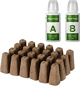 Yoocaa Seeds Pods Kit for Hydroponics Growing System, Seed Starter Plugs with 24pcs Grow Sponges, A&B Solid Nutrient Plant Foods