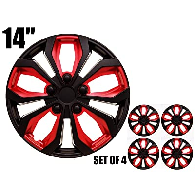 "SUMEX 506138B Original Set of 4 Hub caps SPA, red and Black, Beautiful Design, Easy Installation, Universal fit for 14"" INCHES car Wheels: Automotive"