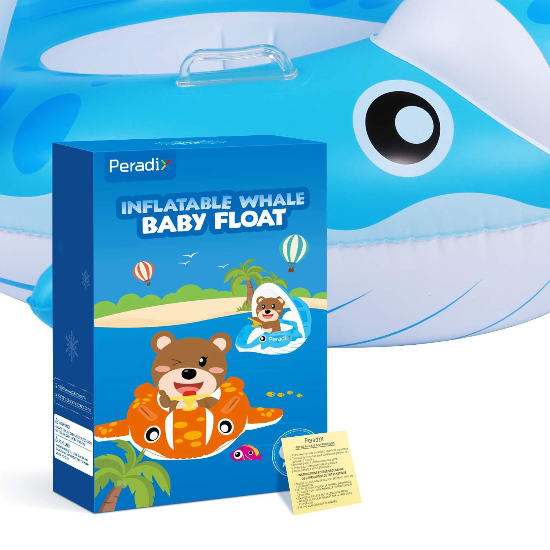 Peradix Piscina Salvagente per Bambini con Tettuccio Parasole Mutandina e Patch di Riparazione Baby Nuoto Anello Salvagente Regolabile Barca Gonfiabile Anello(Balena Blu)