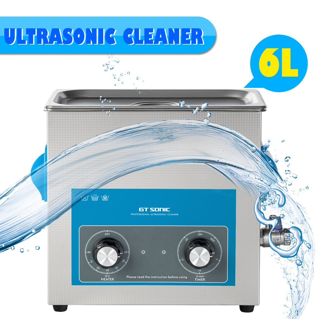 GT SONIC 6L Ultrasonic Cleaner Stainless Tank with 300W Heater Digital Timer Professional for Cleaning Jewellery Household Commodities Labs Glasses Coins Metal Parts (40KHz, 150W)