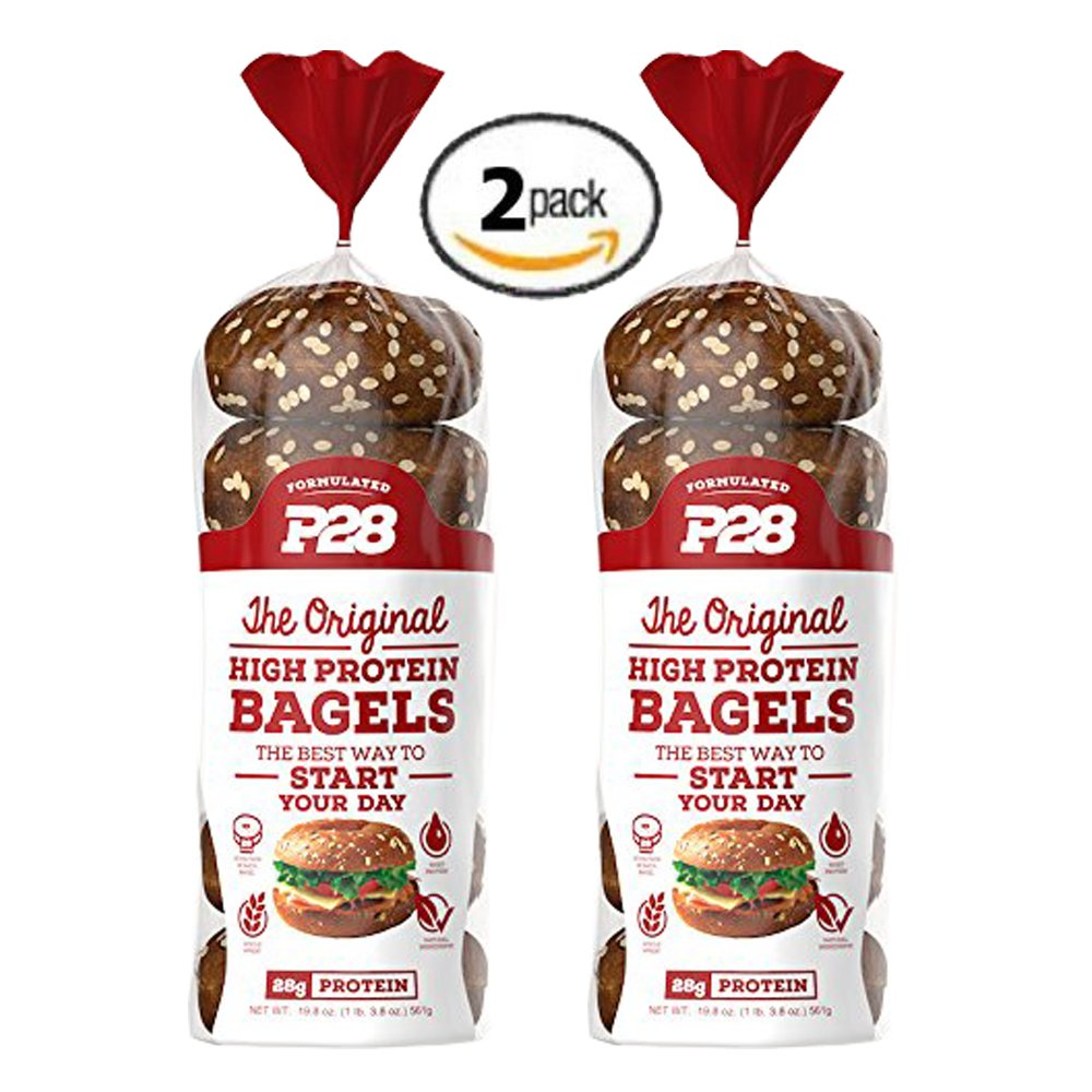 2 Pack Value of P28 High Protein Bagel, 100% Natural, 12 bagels total, Includes 7 Day Clean Eating/High Protein Meal Plan E-Book