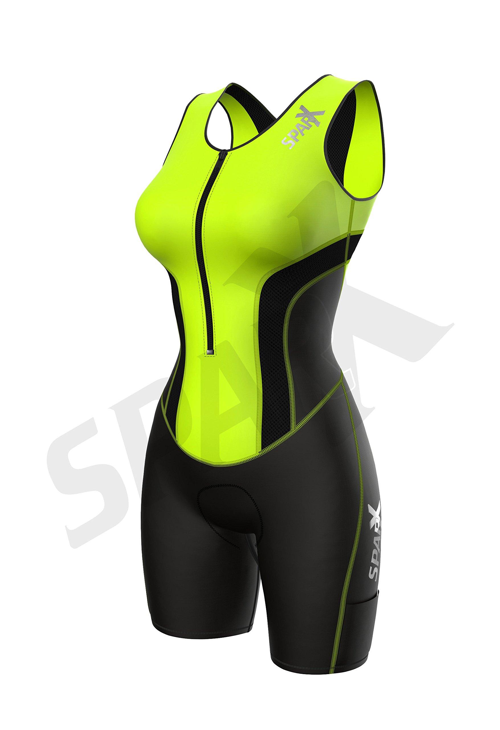 Sparx Women Triathlon Suit Tri Short Racing Cycling Swim Run (Small, Neon Green) by Sparx Sports (Image #3)