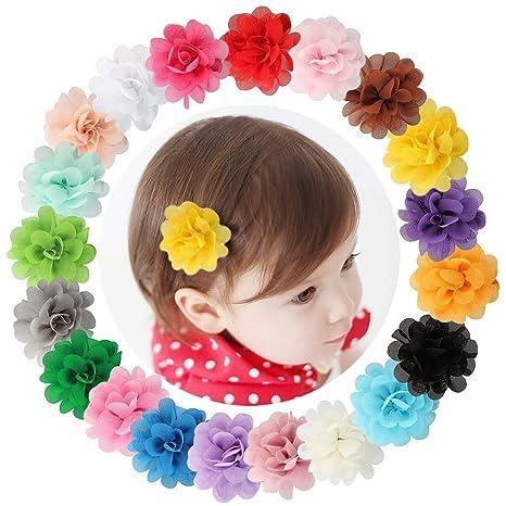 Nouvelle garantie de haute qualité meilleur prix pour Dooppa Lot de 20 pinces à cheveux avec fleur en mousseline de soie Pour  enfant