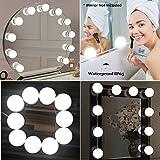 Kit de luces de espejo de vanidad de Hollywood Style LED, JHS-TECH Juego de mesa de tocador de maquillaje cosmético Set de luces de espejo con lámparas regulables de 10 LED, Tira de iluminación, 13.5