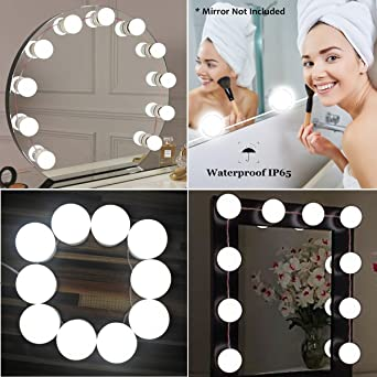 JHS-TECH Prächtige Spiegelleuchte(LED) im Hollywood-Stil ...