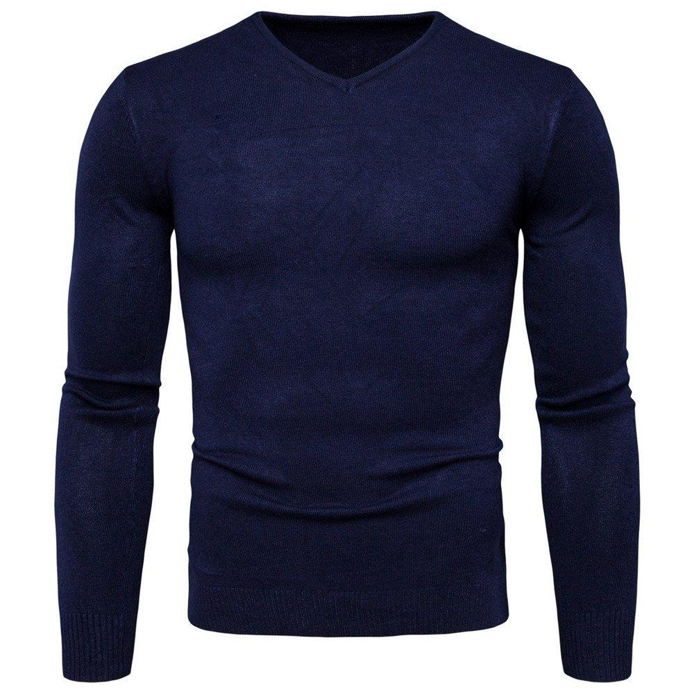Langärmelige pullover mens   hals pullover solide langärmelige pullover,navy Blau,xxl