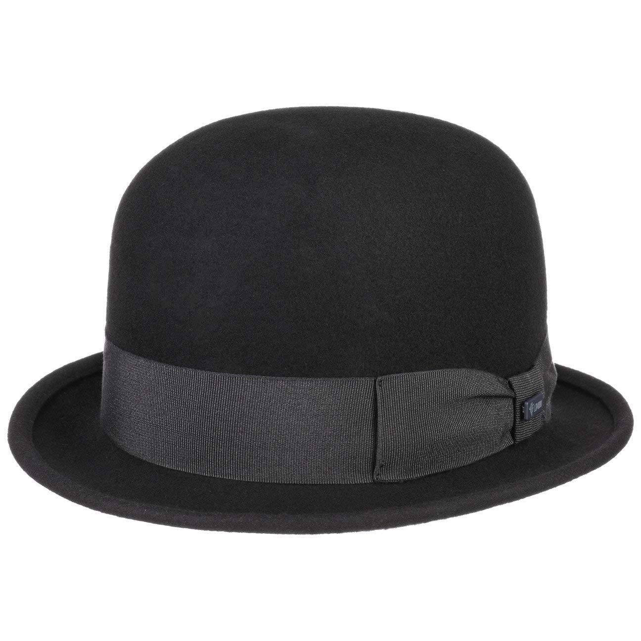 Lipodo Bowler Wool Felt Hat Women/Men Black XL (7 1/2-7 5/8)