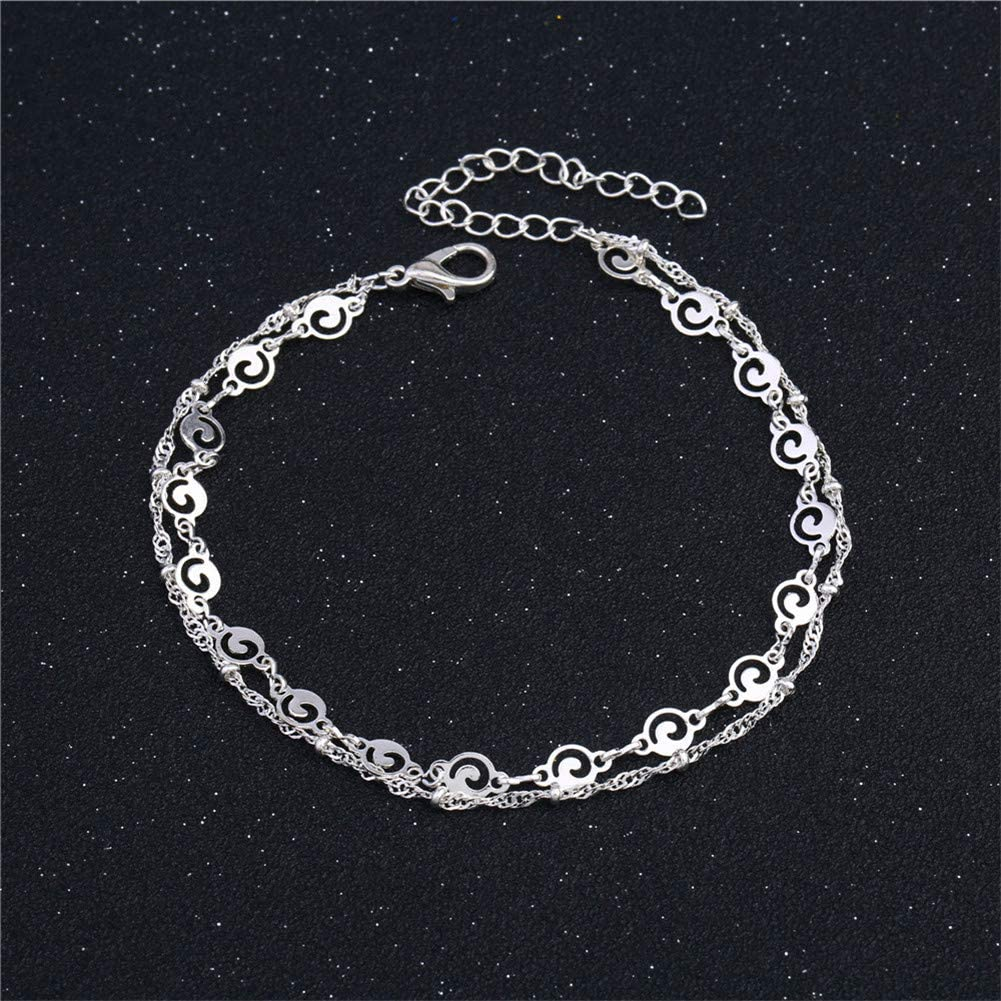 Aineecy Double-Layered Sea Wave Anklet Hollow Round Circle Wave Anklet Bracelet Summer Beach Foot Chain Jewelry for Women Girls