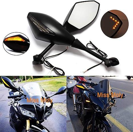 Nero Motociclo Segnale di Svolta Luce Specchi con Freccia a LED per CBR GSXR CBR300R 600RR 1000RR Nero Lucido + Lente Fumo