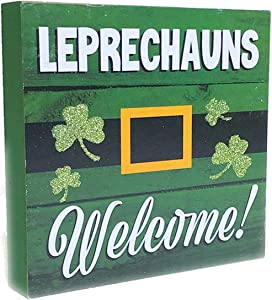 Hemmet St Patricks Day Decorations for The Home Irish Table Décor Leprechauns Welcome Wooden Plank Sign Saint Shamrock Office Desk Room Kitchen Countertop Display Wood Sentiment Words Sayings