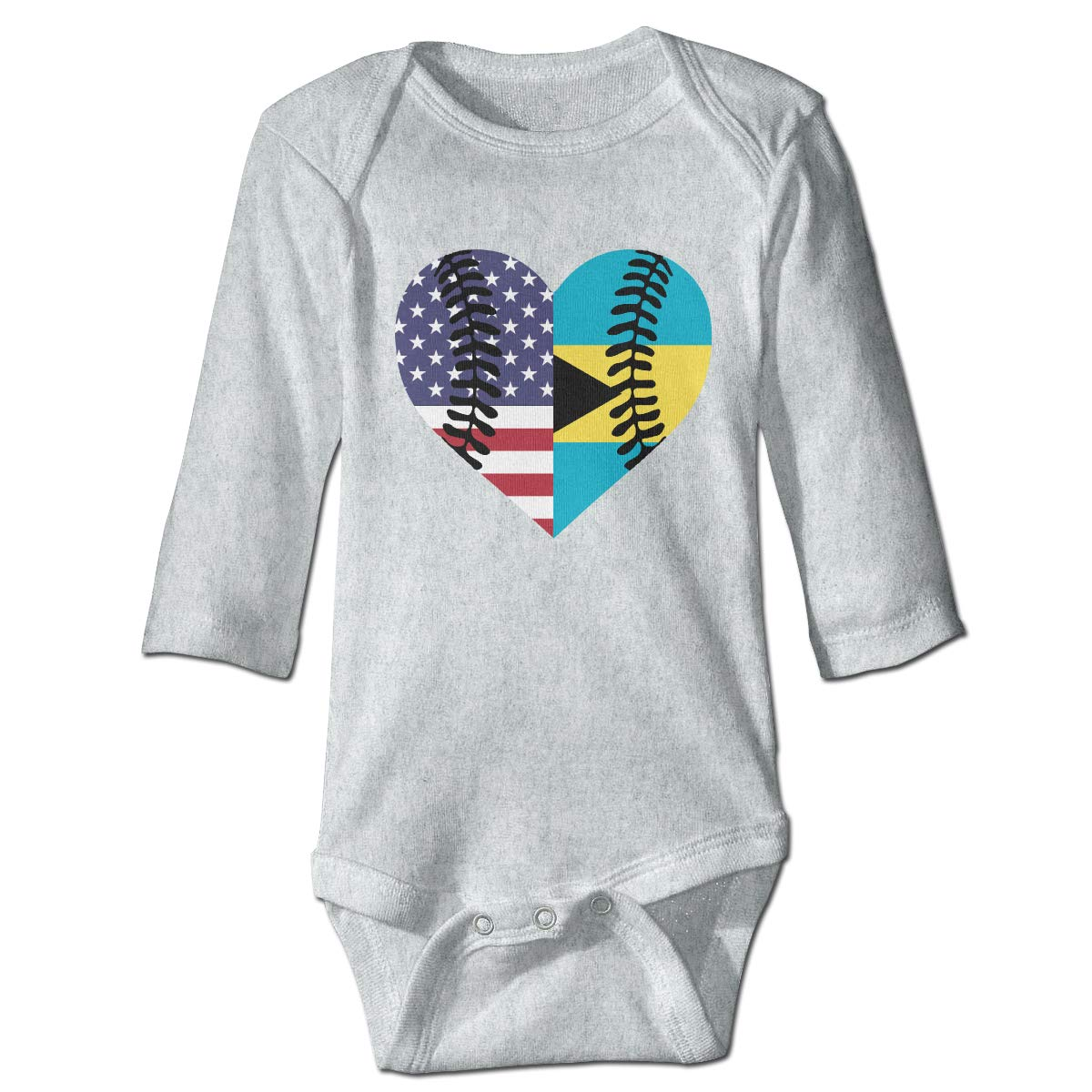 A14UBP Newborn Baby Boys Girls Long Sleeve Jumpsuit Romper Bahamas USA Flag Half Baseball Unisex Playsuit