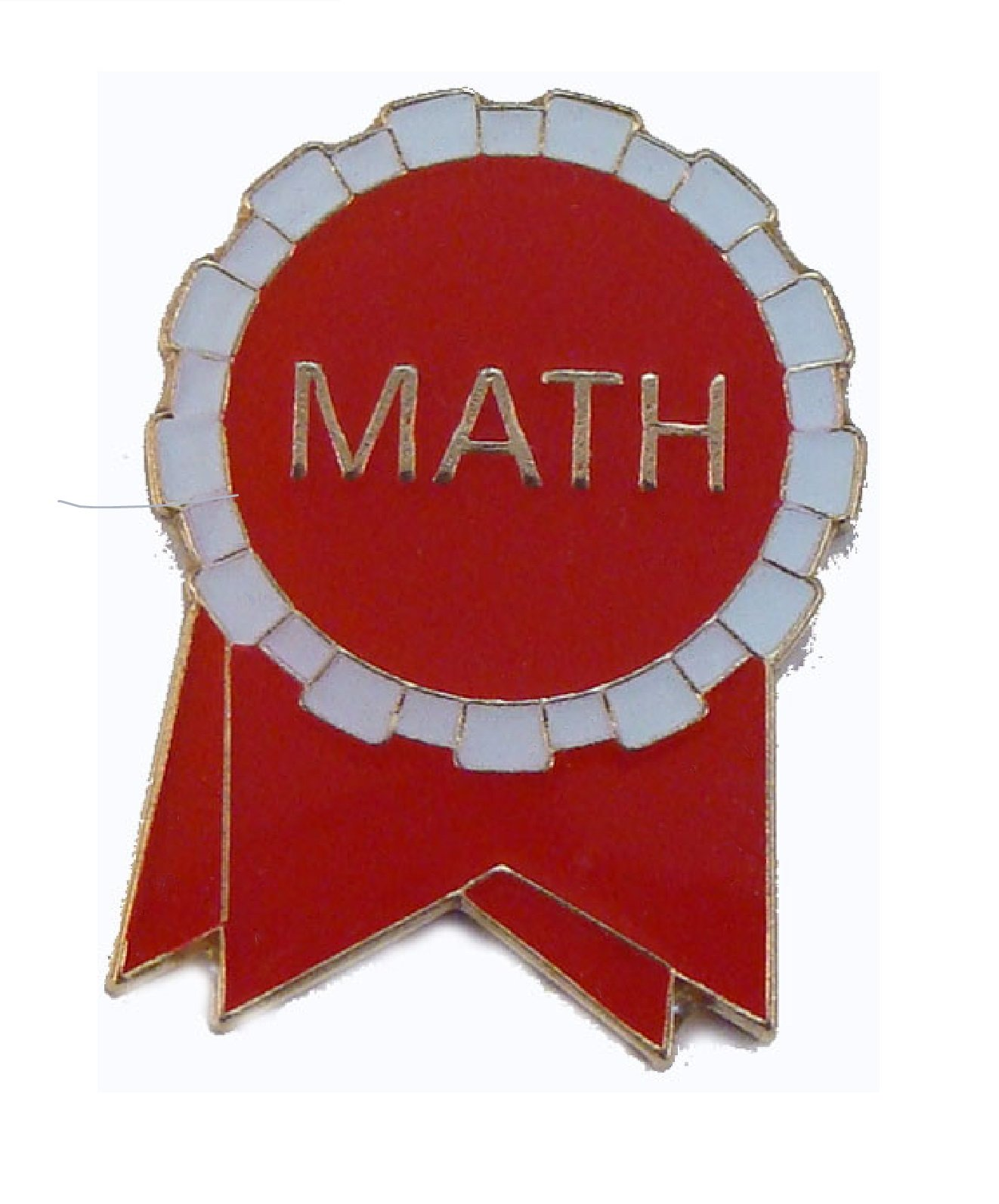 Pack of 100 Math Ribbon Lapel Pins (Red/White)